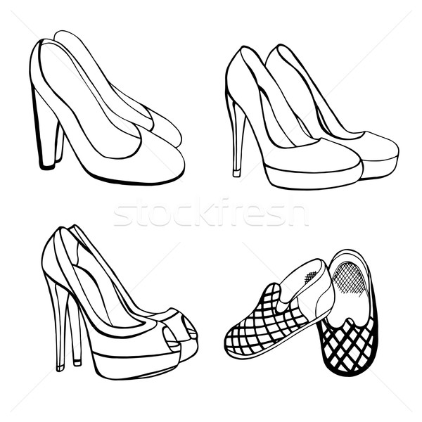 Frau Schuhe Set Objekte Illustrationen schwarz weiß Stock foto © frescomovie