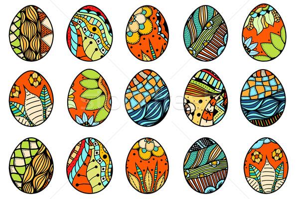 Hand drawn easter eggs Stock photo © frescomovie