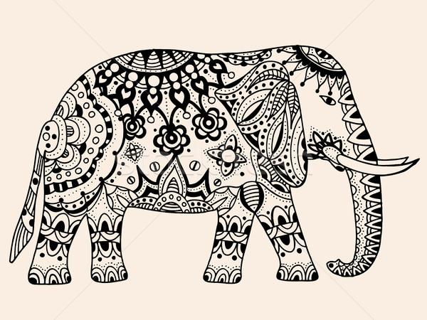 Vektor indiai elefánt kézzel rajzolt firka törzsi Stock fotó © frescomovie
