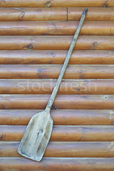 Alten Holz Schaufel Wand Stock foto © frescomovie