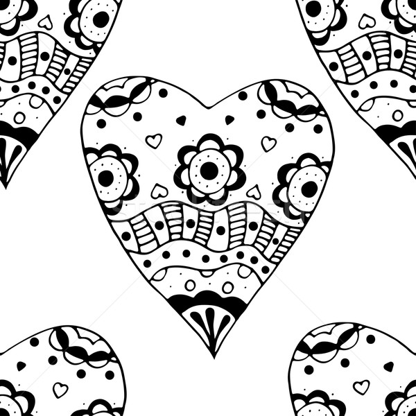 Doodle hart naadloos zwart wit Stockfoto © frescomovie