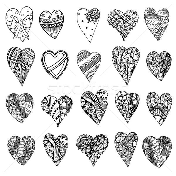 Tangle Patterns style hearts Stock photo © frescomovie