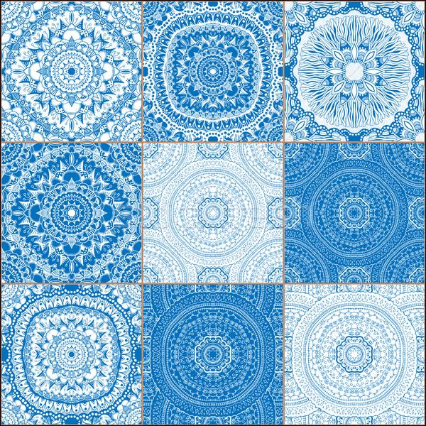 set of classical blue ceramic tiles Stock photo © frescomovie