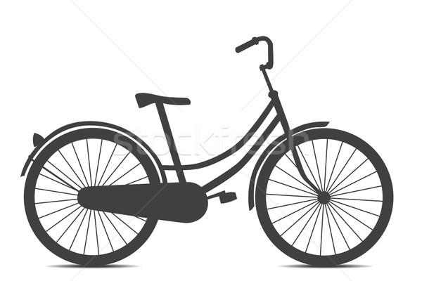 Stock fotó: Bicikli · retró · stílus · fekete · izolált · fehér · fény