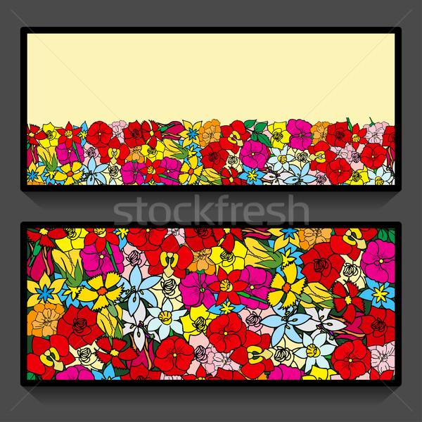 flowers pattern cards Stock photo © frescomovie