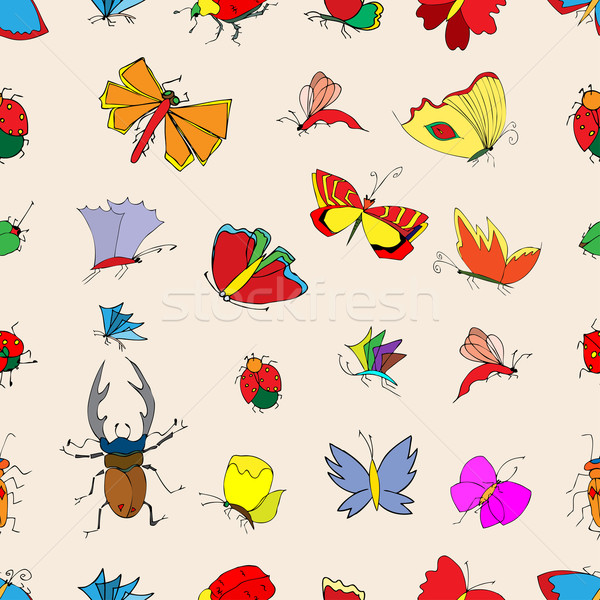 seamless pattern with insects Stock photo © frescomovie