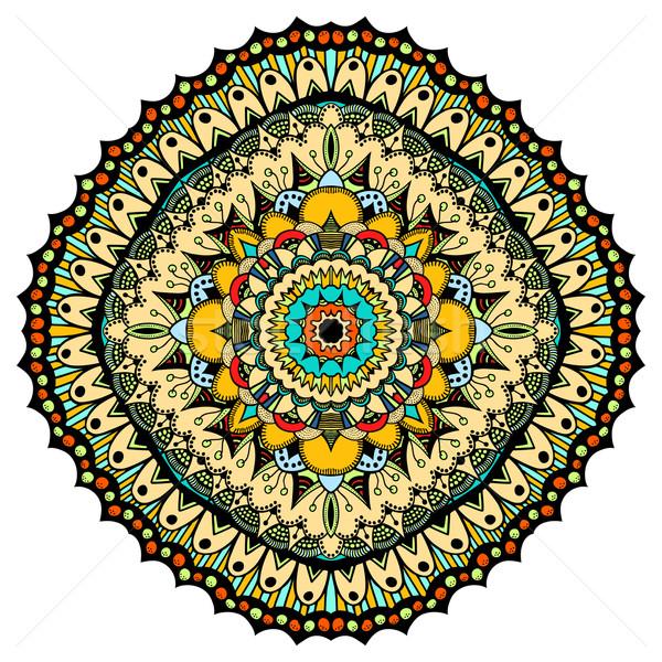 Díszes keleti mandala arany körvonal vektor Stock fotó © frescomovie