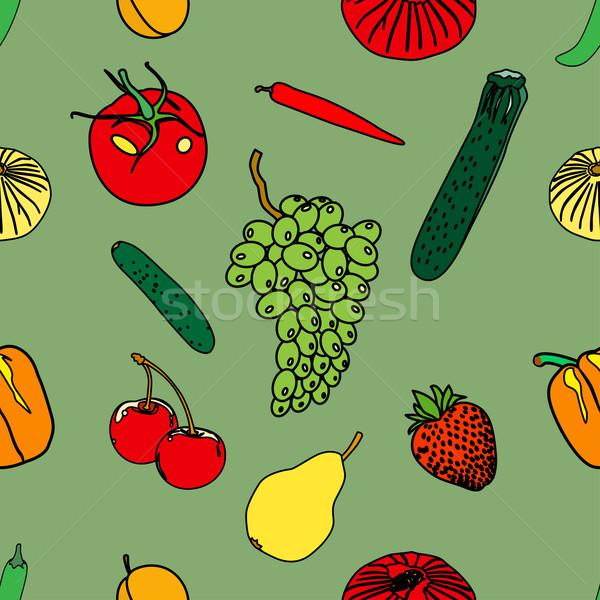 Meyve karalama ayarlamak farklı yalıtılmış beyaz Stok fotoğraf © frescomovie