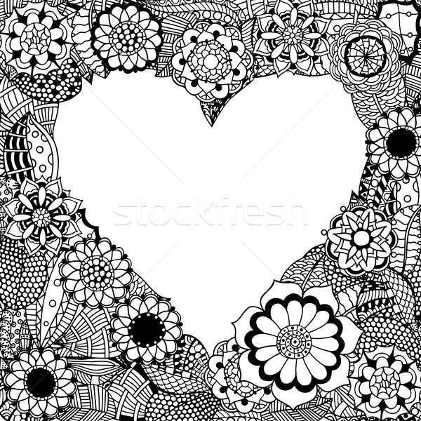 Serca monochromatyczny ramki streszczenie kwiaty Zdjęcia stock © frescomovie