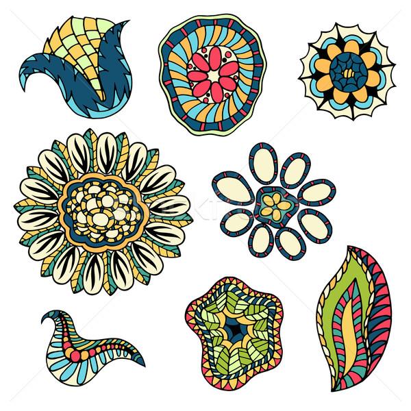 Stok fotoğraf: Karalama · çiçekler · ayarlamak · renkli · dizayn