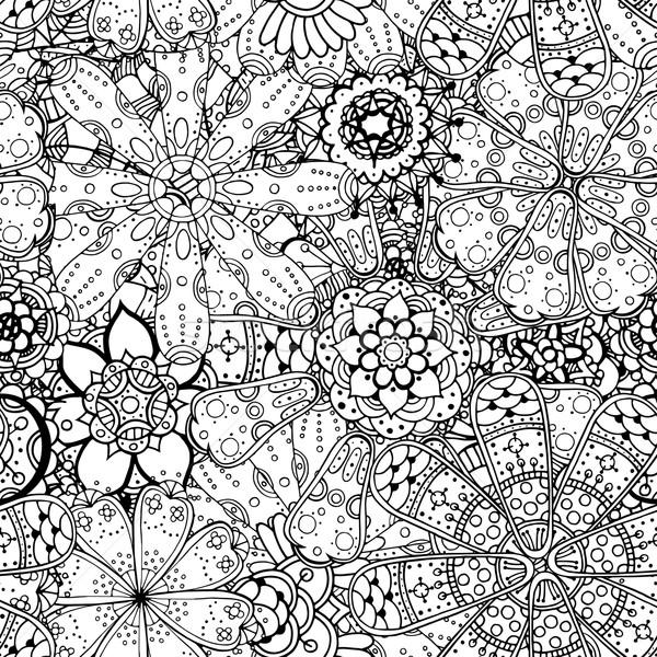 Contour floral modèle dessinés à la main monochrome Photo stock © frescomovie