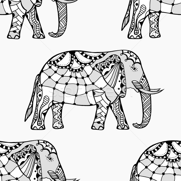 Seamless Pattern with Elephant. Stock photo © frescomovie