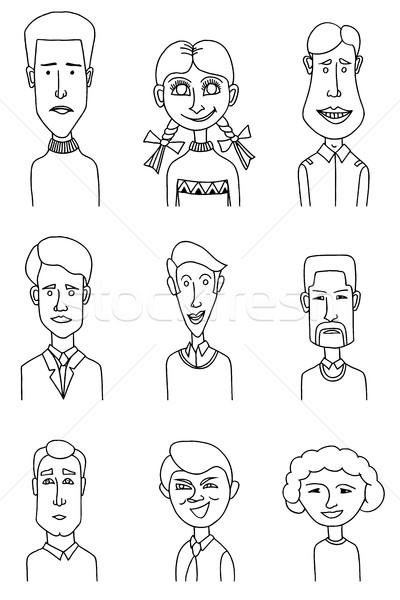 Skizze Menschen Symbole Männer Business Frau Stock foto © frescomovie