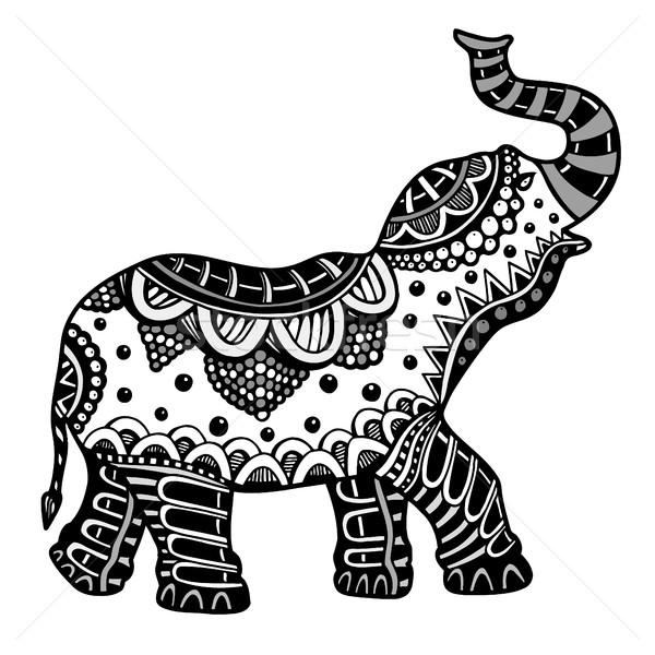 Stock fotó: Kézzel · rajzolt · indiai · elefánt · firka · törzsi · dísz
