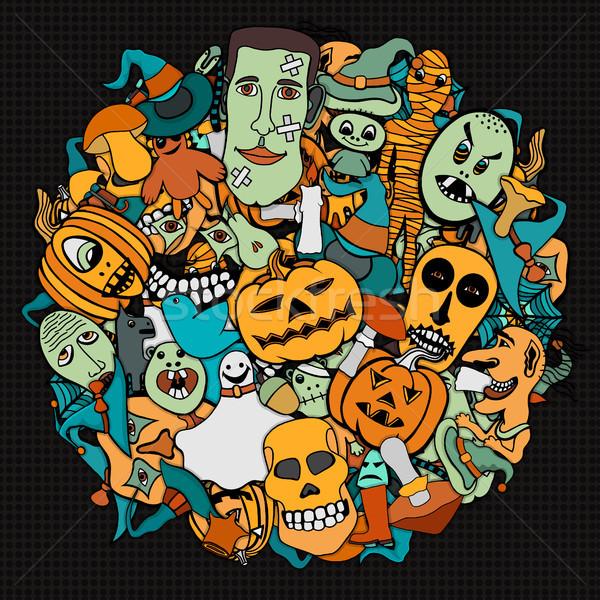 Halloween round illustration. Stock photo © frescomovie