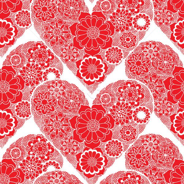 Doodle coeur tourbillons rouge Photo stock © frescomovie