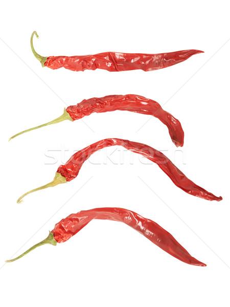 Szett piros paprikák izolált fehér nagyfelbontású Stock fotó © frescomovie