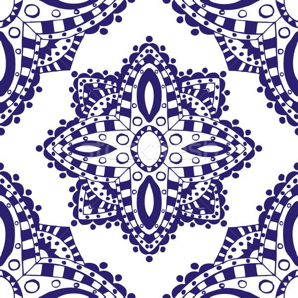 ストックフォト: 青 · デザイン · オランダ語 · タイル · 繊維