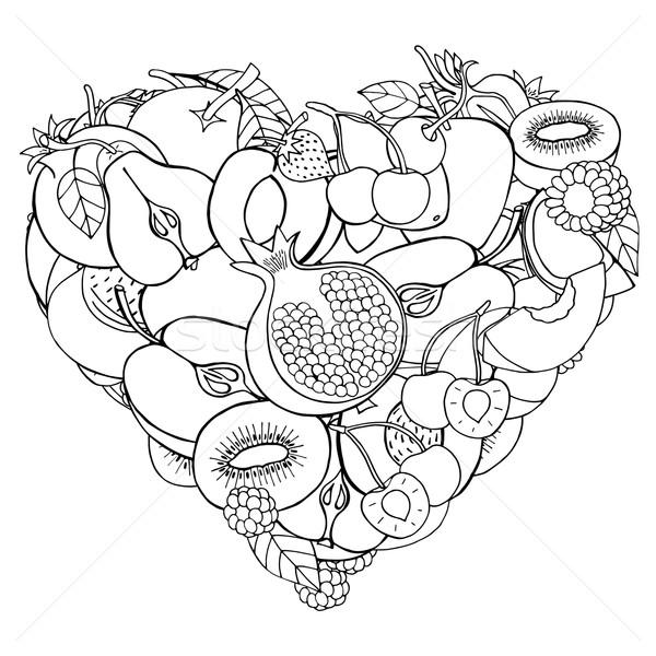 Zdjęcia stock: Serca · zdrowych · owoców · Berry · monochromatyczny · eco