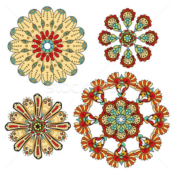 Stock photo: monochrome doodle flowers