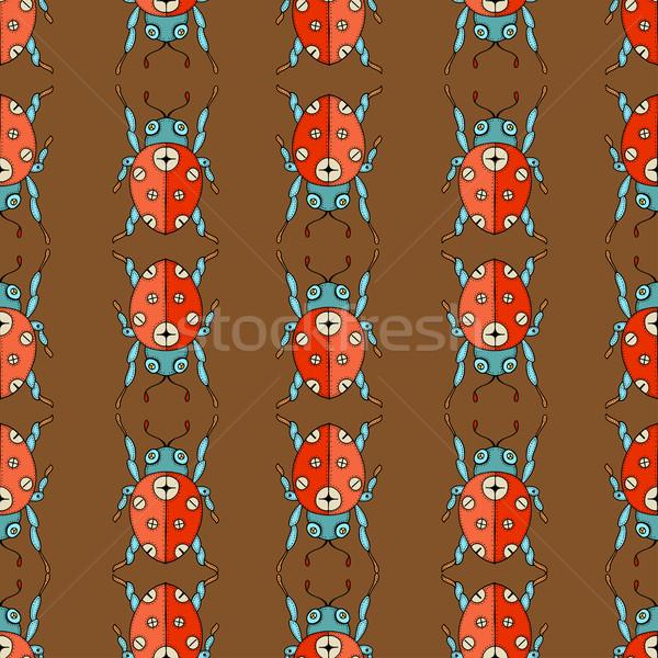 Katicabogár végtelen minta vektor aranyos kéz rajz Stock fotó © frescomovie