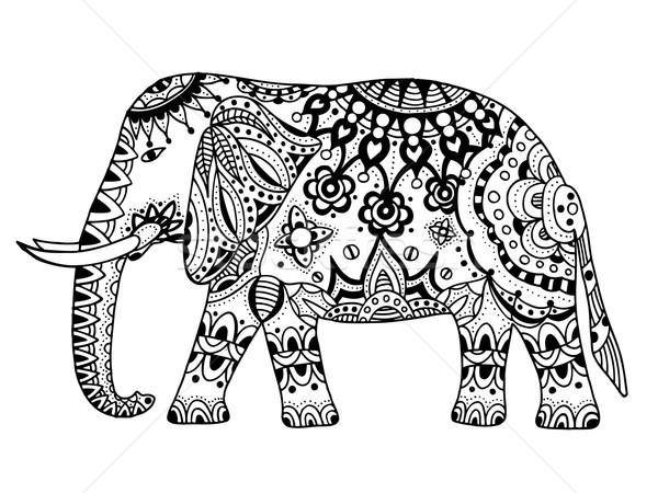 Stock fotó: Vektor · indiai · elefánt · kézzel · rajzolt · firka · törzsi