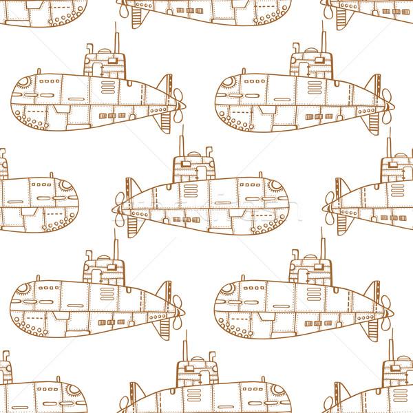 болван эскиз подводная лодка монохромный старые Сток-фото © frescomovie