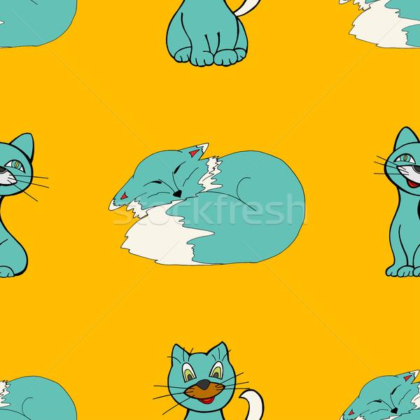 Stock photo: cats seamless pattern