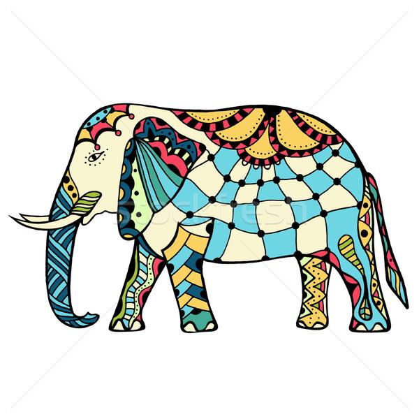 Photo stock: Décoré · indian · éléphant · vecteur · couleur · tatouage
