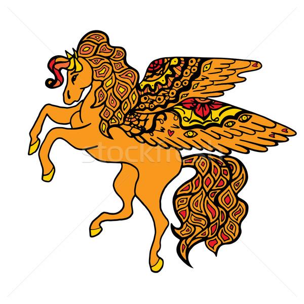 Marrón caballo estilizado amarillo dibujado a mano garabato Foto stock © frescomovie
