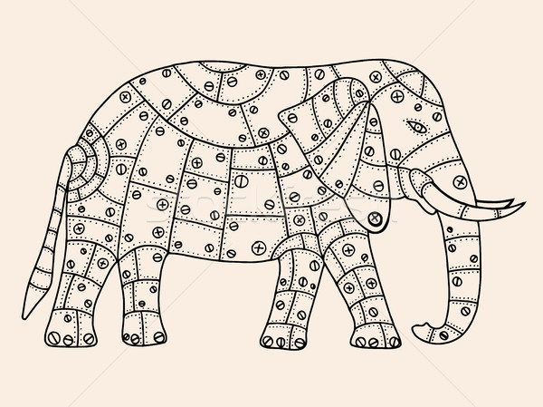Stock fotó: Kézzel · rajzolt · elefánt · fekete · bézs · szín · fém