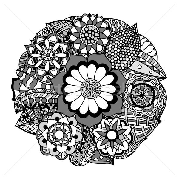 цветок орнамент черно белые круга декоративный кружево Сток-фото © frescomovie