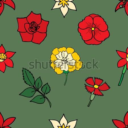 Floral Blumen Vektor Blüte Doodle Stock foto © frescomovie