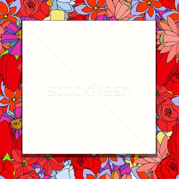 Quadro flores rabisco elementos papel abstrato Foto stock © frescomovie
