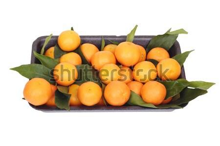 Caixa muitos comida fundo laranja verde Foto stock © frescomovie