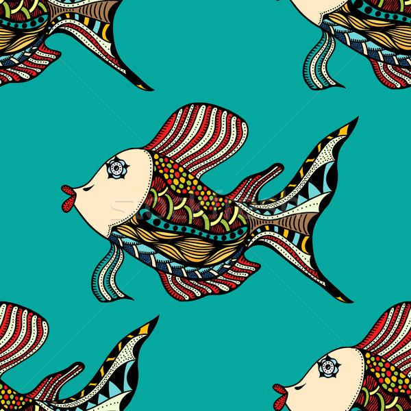 Seamless Zentangle fish Stock photo © frescomovie
