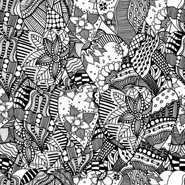 Szív szeretet firka kézzel rajzolt díszítő törzsi Stock fotó © frescomovie