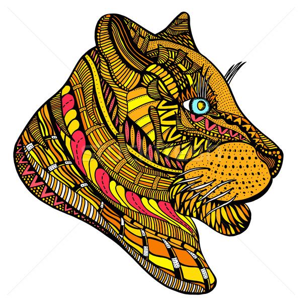 Kézzel rajzolt tigris fej felnőtt oldal színes Stock fotó © frescomovie