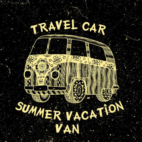 Autobús texto viaje coche vacaciones de verano van Foto stock © frescomovie