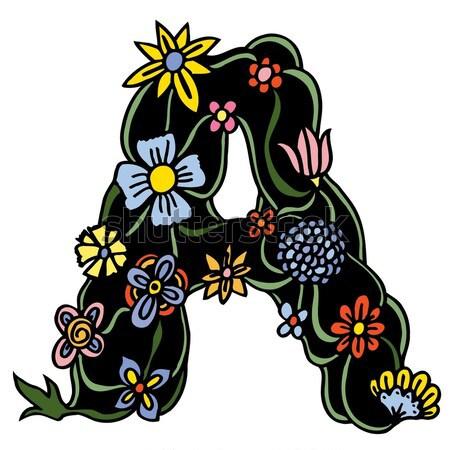 Hand gezeichnet Doodle Schreiben Blumen Niederlassungen Stock foto © frescomovie