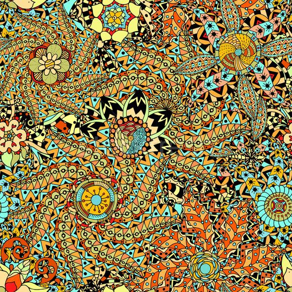 Sin costura patrón étnicas dibujado a mano textura flor Foto stock © frescomovie