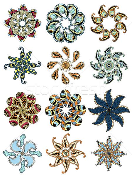 Meetkundig ornamenten ingesteld doodle cirkel Stockfoto © frescomovie