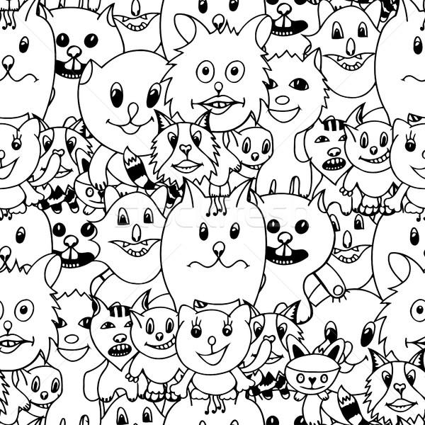 Drăguţ Pisici Colorat Monocrom Amuzant Ilustratie
