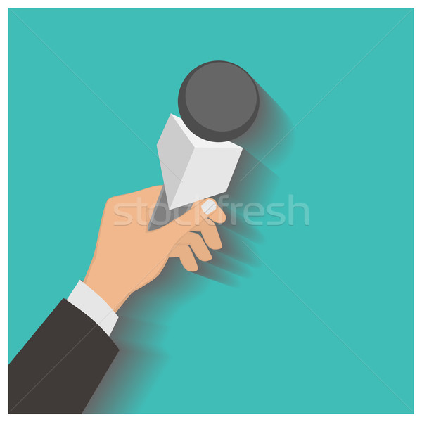 Hand holding a microphone, press conference, vector illustration Stock photo © frescomovie