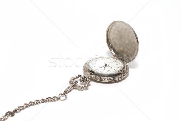 Taschenuhr Kette weiß Mode Retro Geschenk Stock foto © frescomovie