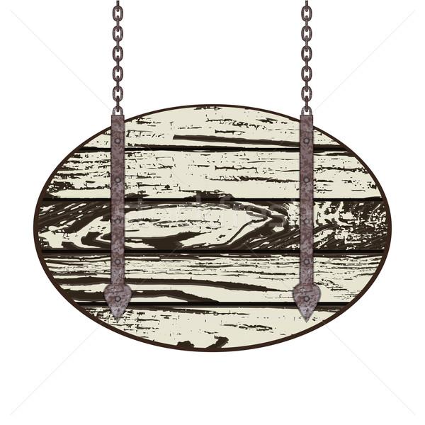Starych zardzewiałe łańcucha drewna metal Zdjęcia stock © frescomovie