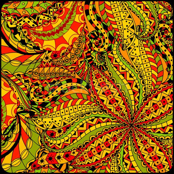 Abstrato cartões étnico padrão conjunto flor Foto stock © frescomovie