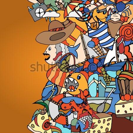 金魚 クラウン シームレス 幸せ 背景 夏 ストックフォト © frescomovie