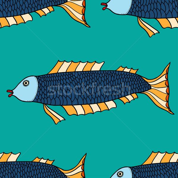 Fisch Phantasie ethnischen Doodle Muster Stock foto © frescomovie