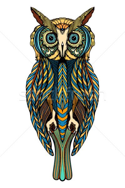 Stockfoto: Decoratief · uil · cute · doodle · stijl